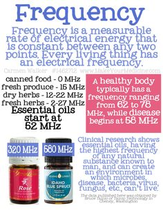 frequency of energy vibration is measured in Hertz (Hz). 1Hz = 1 oscillation per second 1MHz is 1,000,000 oscillations per second...