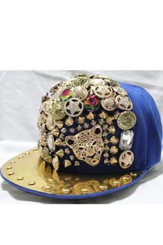 Spike Embellished Leopard Metal Cap OASAP.com