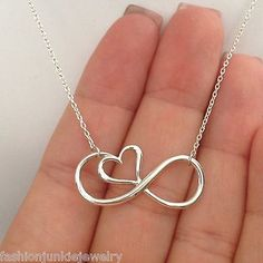 Love this!!! :-)  Infinity Necklace - 925 Sterling Silver - Infinity Sign with Heart Jewelry *NEW*