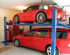 A two-post garage car lift will raise your car up to about 6 feet from the ground, which is low enough for most standard garage ceilings Garage Car Lift, Garage Shop, Dream Garage, Car Storage, Garage Storage, Overhead Garage Door, Garage Doors, Monster Garage, Garage Organisation