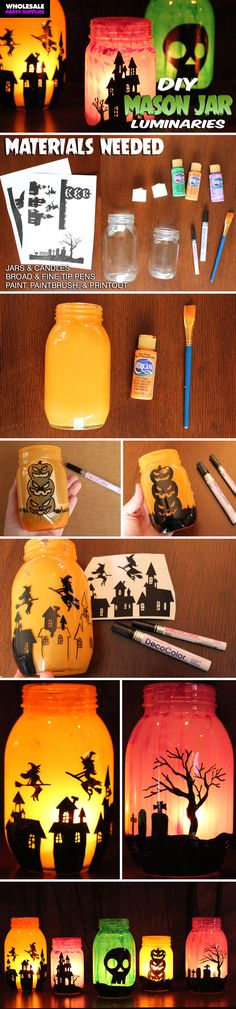 Create your own Halloween luminaries with mason jars! Rockwell Catering and Even… Create your own Halloween luminaries with mason jars! Rockwell Catering and Events Fröhliches Halloween, Halloween Village, Halloween Season, Holidays Halloween, Hallowen Ideas, Homemade Halloween Decorations, Diy Halloween Luminaries, Halloween Mason Jars, Mason Jar Crafts