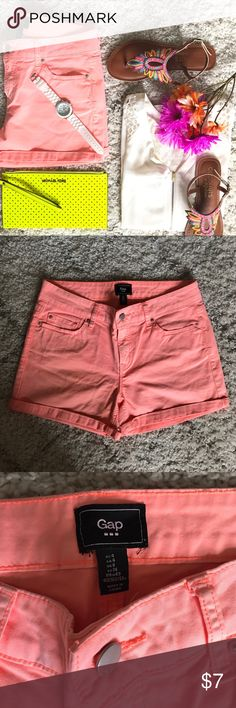 Gap neon short Awesome colored shorts with some minor I perfections (color transferred from my denim during wash), but I think t adds to the short's uniqueness. Super comfortable! GAP Shorts Skorts