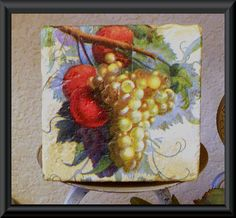Vintage GRAPES And FRUIT VINE Coasters Set of 4 Tumbled Stone Coasters White Yellow Grapes, Red Fruit, Green Leaves Yellow Cream Background