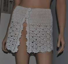 Swimsuit Cover white hand crochet women Size  4  6 by Cobanul, $35.00