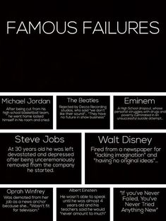 WHEN KIDS FAIL~ Remind them that even Oprah Winfrey and Albert Einstein experie. WHEN KIDS FAIL~ Remind them that even Oprah Winfrey and Albert Einstein experienced failure. Failure is just one step on the path to success! Steve Jobs, Famous Failures, Quotes To Live By, Me Quotes, Qoutes, Random Quotes, Quotable Quotes, Funny Quotes, Montag Motivation