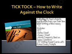 Tick, Tock! How to Write Against the Clock - Timed Essay product from Life-on-the-Fourth-Floor on TeachersNotebook.com