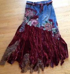lace denim skirts | ... -Nucci-Velvet-Lace-Jean-Floral-Embroidered-Denim-Unique-Skirt-Size-38