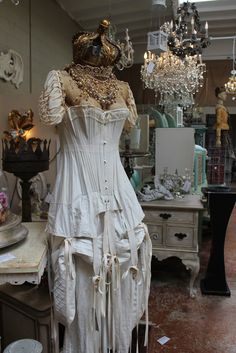 The newest DFD...antique corset, pantaloons and petticoat assembled with newer pieces by White Horse Relics