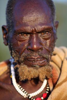 Portrait of an old Suri man in Bargoba village near Kibish.