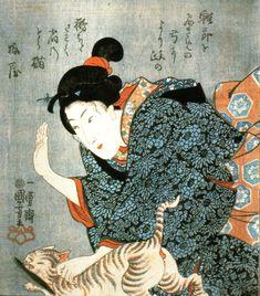 Girl Chastising Thieving Cat | woodblock print | Utagawa Kuniyoshi 歌川 国芳