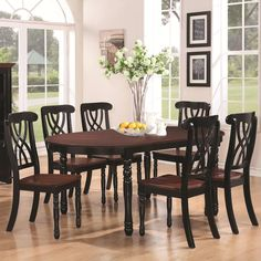 Addison Seven-Piece Oval Leg Dining Table with One Leaf & Double Waved X Back Dining Side Chairs Set SETD7P103701