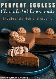 This Eggless Chocolate Cheesecake is indulgently rich and creamy! An easy, fully make-ahead dessert, that everyone will LOVE! Eggless Cheesecake Recipe, Eggless Desserts, Eggless Recipes, Make Ahead Desserts, Eggless Baking, Dessert Recipes, Frozen Cheesecake, Nutella Cheesecake, Chocolate Cheesecake Recipes