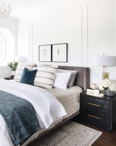 Home Interior Decoration .Home Interior Decoration Bedroom Inspo, Home Bedroom, Modern Bedroom, Earthy Bedroom, Bedroom Wall, 1930s Bedroom, Quirky Bedroom, Grey Bedroom Decor, Wainscoting Bedroom