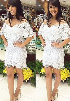 Sexy Gorgeous Off the shoulder Cover Bust Lace White Mini Dresses Online Tight Dresses, Cheap Dresses, Sexy Dresses, Cute Dresses, Vintage Dresses, Beautiful Dresses, Casual Dresses, Short Dresses, Fashion Dresses