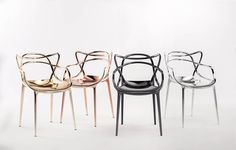 "Kartell. Precious Collection. Philippe Starck ""Masters"" chair in new metallic finishes available in 2015."