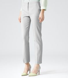 Womens Neutral Straight Leg Trousers - Reiss Londra
