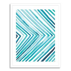 I like the combination of bold straight lines in uneven painted widths and tones. It would pair so well with our CB2 rug, too. Aquatic Line by by Christine Llewellyn of Christine Joy Design at Minted for West Elm.