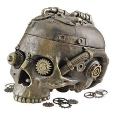 STEAMPUNK-ANTIQUE-SKULL-JEWELRY-BOX-VINTAGE-STATUE-COOL-CLOCKWORK-GEAR-VICTORIAN