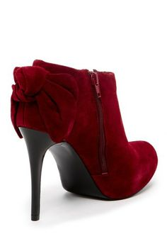 Burgundy bow bootie