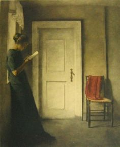Maniera Nera - Peter Ilsted - Interior  with a red shawl