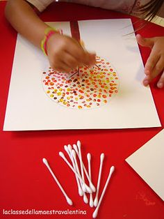 Fun fall craft with the kiddo's -- draw a tree with branches and have your child dot the leaves on with a q-tip dipped in different color paints.  Easy and fun!!