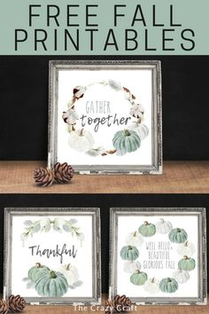 Neutral Farmhouse Fall Printables - Free home decor prints Blue Fall Decor, Fall Home Decor, Pumpkin Crafts, Fall Crafts, Dollar Store Crafts, Dollar Stores, Fall Pillows, Fabric Tape, Fall Projects