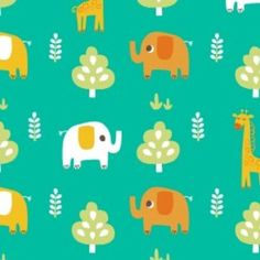 Allison Cole - Happy Jungle - Jungle Animals in Turquoise