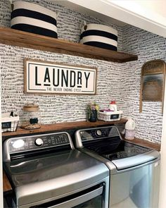 White Laundry Rooms, Rustic Laundry Rooms, Laundry Decor, Laundry Room Design, Laundry Room Decorations, Laundry Signs, Laundry Room Shelves, Laundry Room Remodel, Mudroom Laundry Room