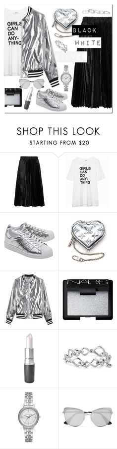 """BLACK!WHITE!SILVER!"" by katymill ❤ liked on Polyvore featuring Comme des Garçons GIRL, adidas Originals, Louis Vuitton, Sans Souci, NARS Cosmetics, David Yurman, Michael Kors, Prada, Kendra Scott and white"