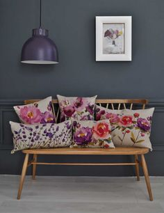 bluebellgray: Winter Peony collection. Beautiful watercolor-style floral pillows.