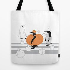 Penguins in The Pumpkin Patch Funny Cute Halloween Tote Bags