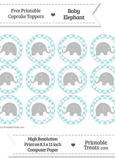 Free Pastel Aqua Blue Checker Pattern Baby Elephant Cupcake Toppers