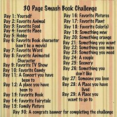 30 Page Smash Book Challenge. This would be cool for my next smash book! Journal Prompts, Journal Pages, Writing Prompts, Art Journals, Writing Ideas, Creative Writing, Creative Ideas, Smash Book Inspiration, Journal Inspiration