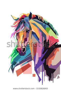 Find Colorful Illustration Art Style Horse White stock images in HD and millions of other royalty-free stock photos, illustrations and vectors in the Shutterstock collection. Pop Art, Art And Illustration, Steam Artwork, Arte Equina, L'art Du Portrait, Painted Horses, Horse Artwork, Arte Pop, Equine Art