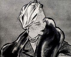 Vintage hat by Legroux Soeurs, illustration Louchel