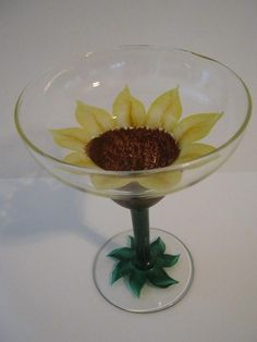 Yellow Sunflower Hand Painted on a Margarita Glass by jennifer347, $9.00
