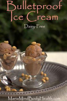 Dairy Free Bulletproof Ice Cream, low carb chocolate ice cream, low carb chocolate peanut butter ice cream, bulletproof ice cream, bulletproof chocolate