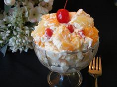 Creamy Fruit Salad ~ 1 (8 ounce) package Cream Cheese, softened,  6 tablespoons Sweetened Condensed Milk, 30 ounces Fruit Cocktail, well drained, 10 Maraschino Cherries, halved, 1 Banana, diced