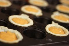 MIni Pumpkin pies! <- you could also do this with apple pies cuz pumpkins kinda look like apples, too.