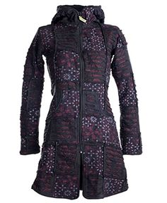 Vishes - Alternative Bekleidung - warmer Elfen Patchworkmantel aus Baumwolle mit Fleecefutter und Kapuze grau 32/34: Amazon.de: Bekleidung
