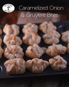 Caramelized Onions with melted Gruyere cheese inside a bite of crispy puffed pastry are a delightful addition to your party spread. This weekend the Sunday Supper team is sharing a selection of tan...
