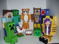 More Minecraft Perler beads figurines! These are cute! They incorporate cool skins on Minecraft!