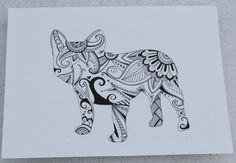 Hand Drawn Henna Style French Bulldog 2 by JustTheCrumbs on Etsy, $30.00