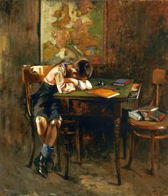 Vincenzo Irolli (Italian painter) 1860 - 1949  A Schoolboy's Nap, s.d.  oil on canvas  75.5 x 65.5 cm.