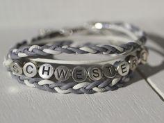 Namensarmbänder - Wickelarmband Schwester♡ - ein Designerstück von Lieblingsstuecke_by_Emma bei DaWanda