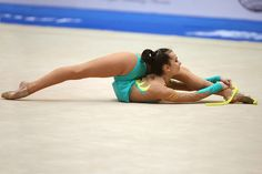 Nadiya Vasina of Ukraine flexibility finishes with rope during qualifications at 2006 Deriugina Cup Grand Prix in Kie