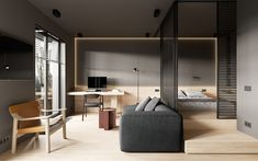 A modern minimalist studio in Saint Petersburg uses a gray palette, modern furnishings, and sliding wall partitions to create distinct living areas. Small Apartment Layout, Small Apartments, Modern Small Apartment Design, Small Space Living, Small Spaces, Living Spaces, Modern Spaces, Living Room, Studio Apartment Decorating