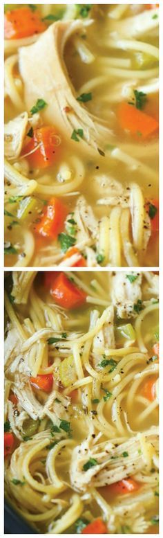 Slow Cooker Chicken Noodle Soup ~ Made right in the crockpot... So hearty, comforting and soothing.