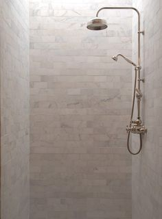 before & after: elegant bathroom makeover – Design*Sponge Subway Tile Showers, Marble Subway Tiles, Shower Tiles, Shower Set, Shower Rooms, Rain Shower, White Shower, Shower Bathroom, Shower Faucet