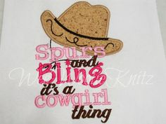 Cowgirls Spurs and Bling T shirt Girls Appliqued Embroidered Cowboy Hat. $21.09, via Etsy.